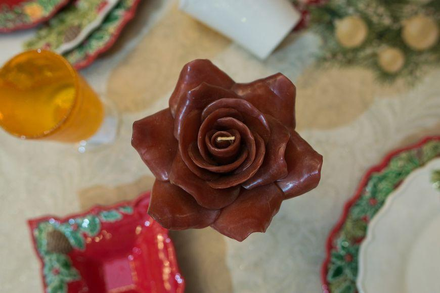 Свеча - роза  - фото