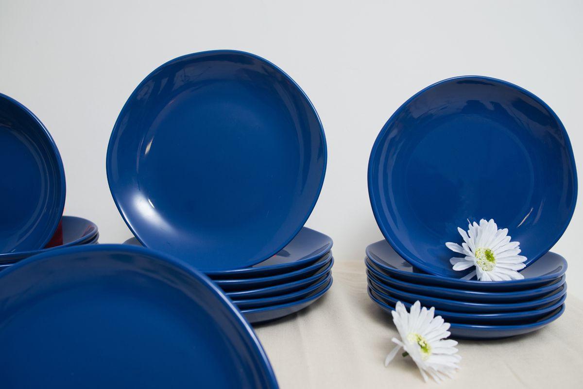 Столовый сервиз керамики синего цвета на 6 персон Comtesse Milano  - фото