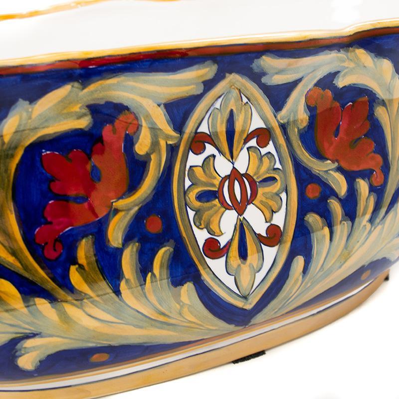 Керамическое кашпо ручной работы с художественной росписью Lustro Antico  - фото
