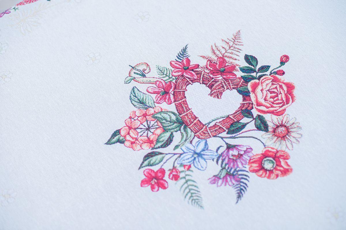 Гобеленовая скатерть с романтичным рисунком «Цветочное послание»  - фото