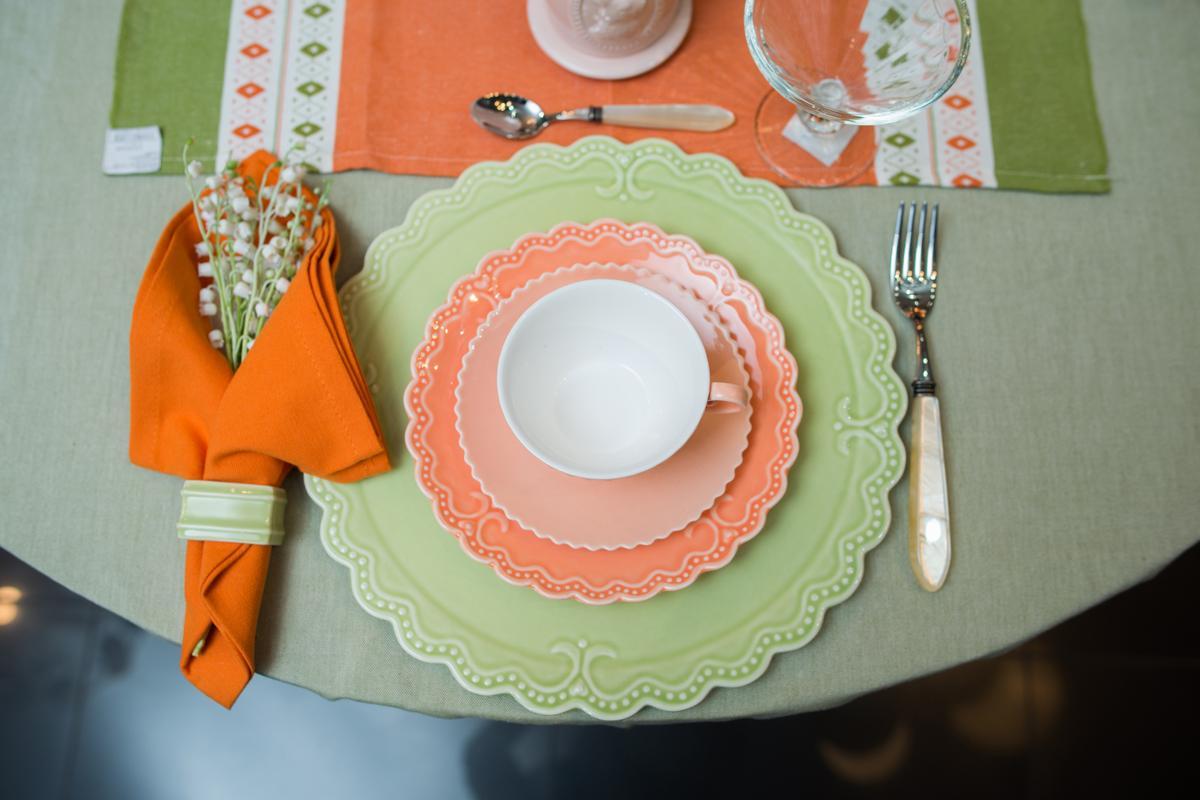 """Тарелка для сладкого абрикосового цвета """"Зефир""""  - фото"""