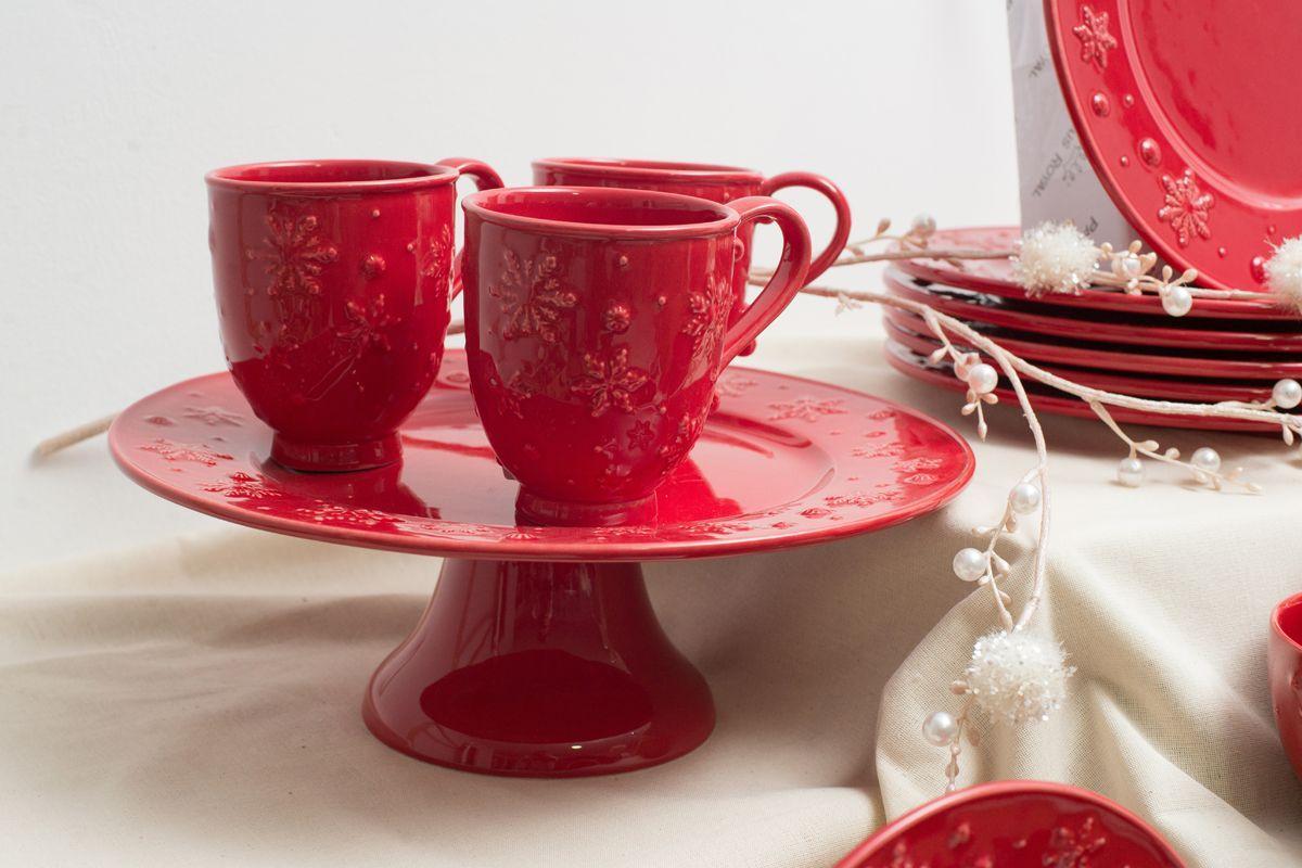 Новогодний сервиз столовый красный Снежинки  - фото