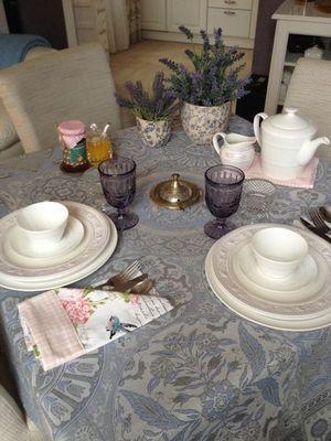 Фото-отзыв пользователя к товару: Скатерть Porcelaine с тефлоновым покрытием серо-синяя