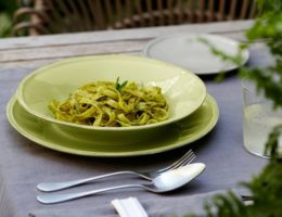 пища на зелёной тарелке
